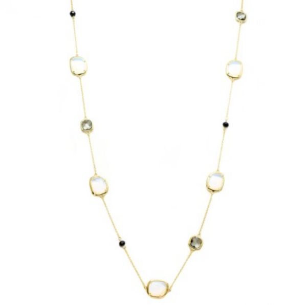 New Product - Gold Chain with Semi Precious Stone Stations Approx: 36""