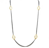 New Product - Gunmetal Double Chain Necklace w/ Square cubic Zirconia Stations