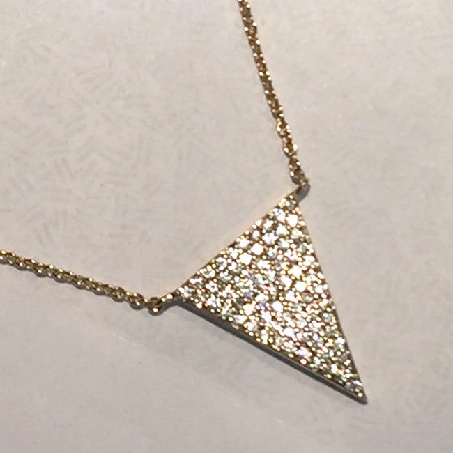 "New Product - Antique Gold Chain with Triangle Crystal Zircon Pave Pend 16""+2 - Quantum EMF Protectors"