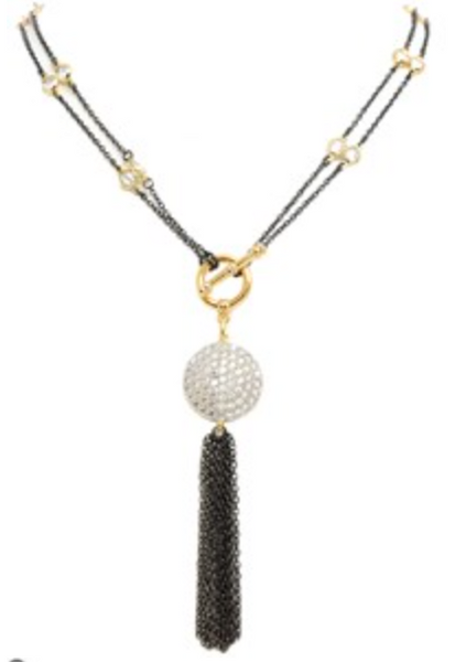 New Product - Round Cubic Zirconia Pave Tassel Necklace Gun Metal 36""
