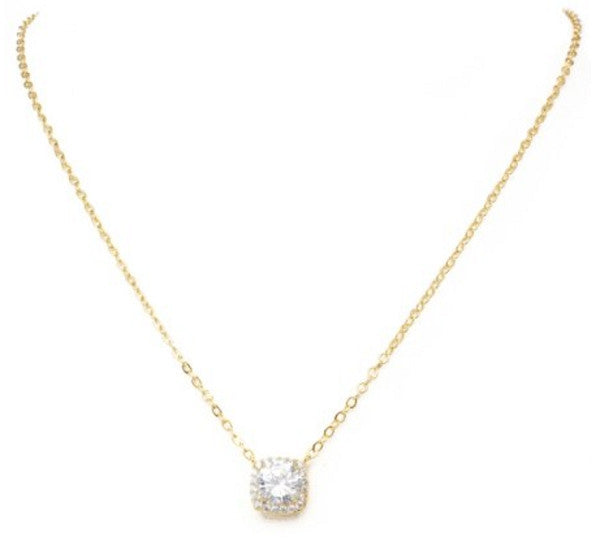 "New Product - 16"" Gold Tone and Square Cubic Zirconia Pendant"