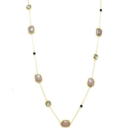 "New Product - Gold Chain with Semi Precious Stone Stations Approx: 36"" - Quantum EMF Protectors"