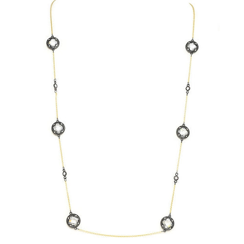 New Product - Gunmetal Necklace w/ Gold Oval and Clear Cubic Zirconia Stations - Quantum EMF Protectors