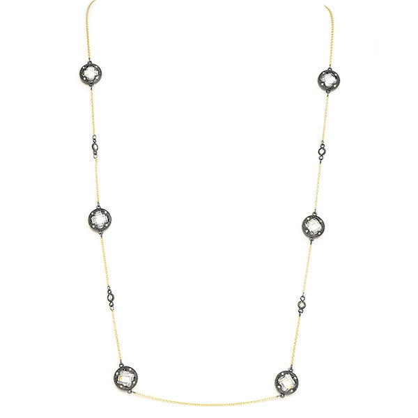 New Product - Gunmetal Necklace w/ Gold Oval and Clear Cubic Zirconia Stations