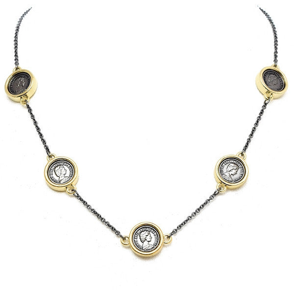 New Product - Gunmetal and Gold Coin Stations Necklace