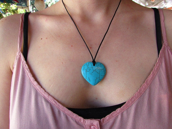New Product - Quantum EMF Infused Natural Blue Turquoise Heart Pendent Quantum Neutralizer