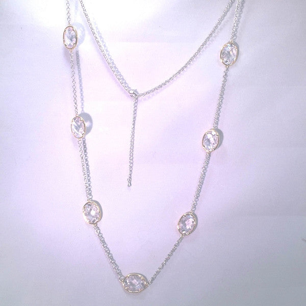 New Product - Silver Tone Chain Gold Oval Clear Cubic Zirconia Stations 36""