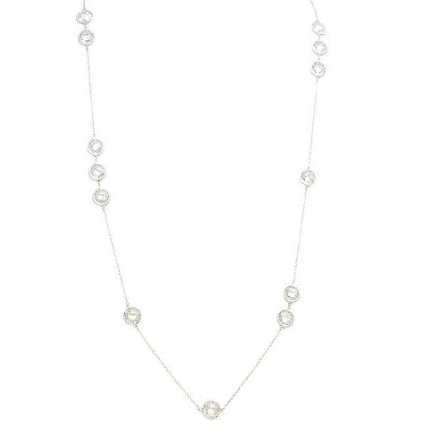 EMF Jewelry - Silver Chain Necklace with Cubic Zirconia Stations Quantum EMF BioShield Quantum Protector