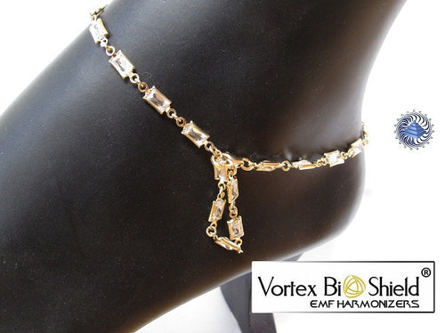 Gold Plated Silver EMF Quantum Harmonizing Anklet with crystals beads - Quantum EMF Protectors