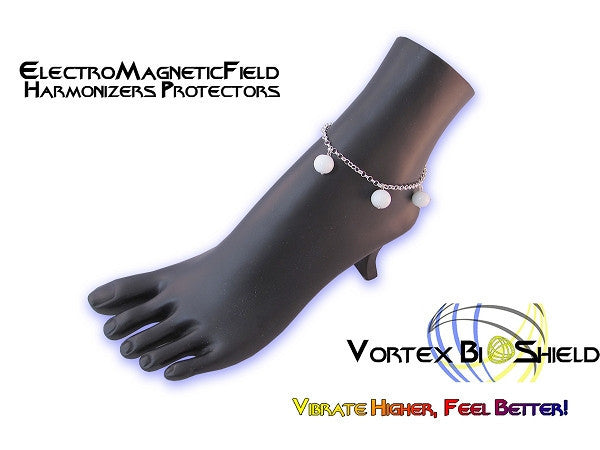 New Product - WHITE Globe Italian Silver Anklet Quantum BioShield Quantum Protector
