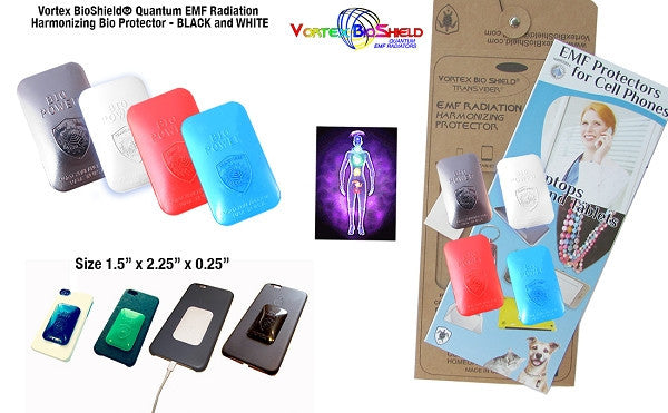 4 Quantum Vortex BioShield® EMF Cell Phone Radiation Bio Protectors Harmonizers Black/White/Red/Blue