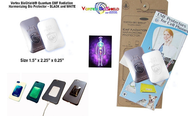 2 Quantum Vortex BioShield® EMF Cell Phone Radiation Bio Protectors Harmonizers Black/White