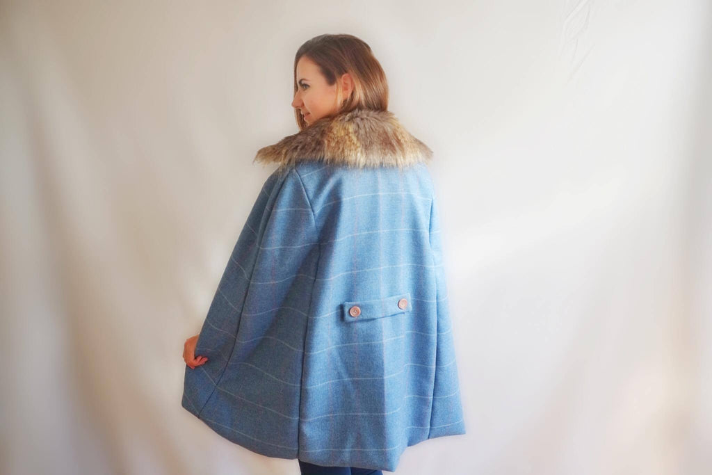 Alice & Country Blue Tweed Cape