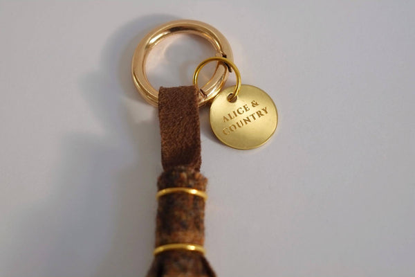 Brown Check Tweed Tassel Keyring - Alice & Country