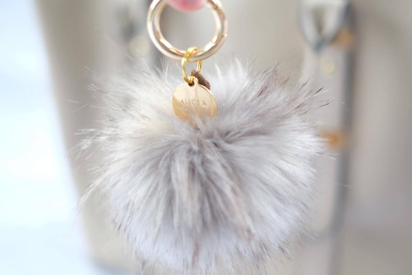 Faux Fur Pom Pom Keyring - Alice & Country