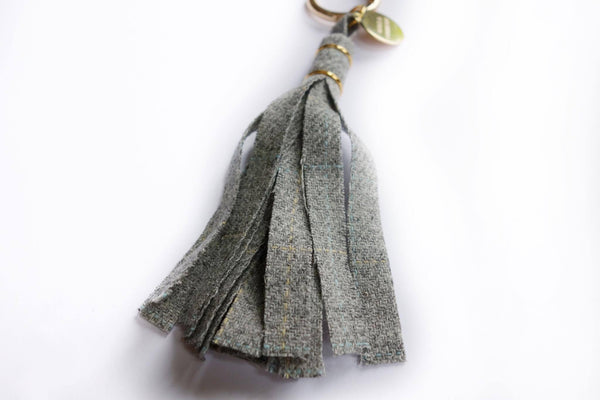 Grey Check Tweed Tassel Keyring - Alice & Country