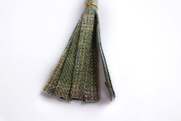 Green Check Tweed Tassel Keyring - Alice & Country