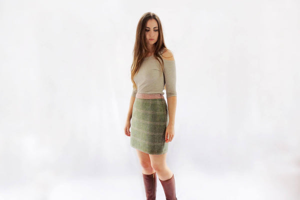 Contrast Tweed Skirt