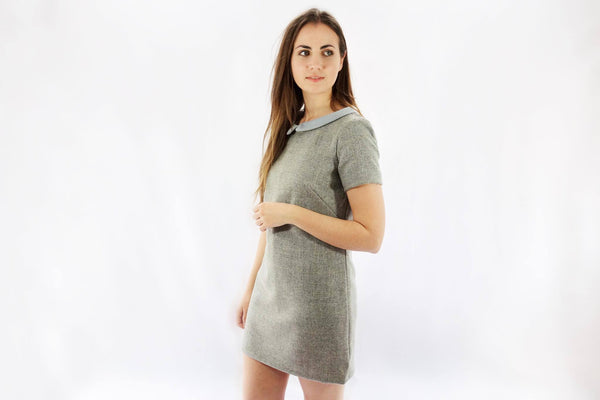 Checked Shift Tweed Dress With Collar - Alice & Country