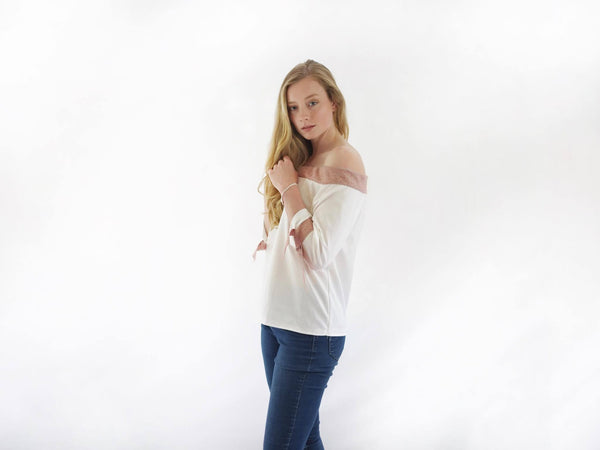 Oxford Bardot Top With Tweed Trim
