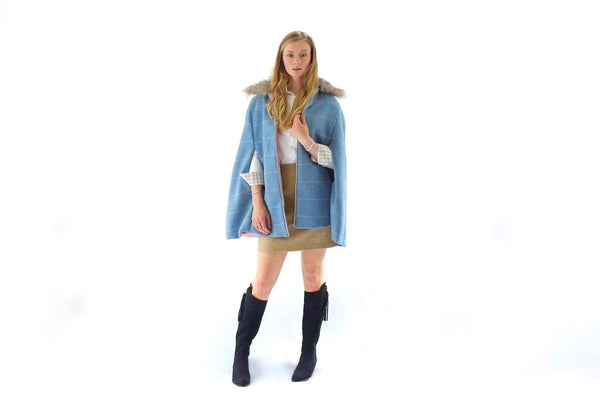 Blue Tweed Cape With Faux Fur Collar