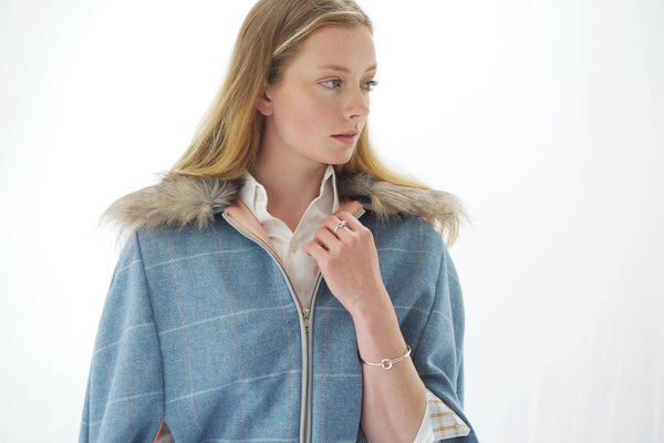 Blue Tweed Cape With Faux Fur Collar - Alice & Country
