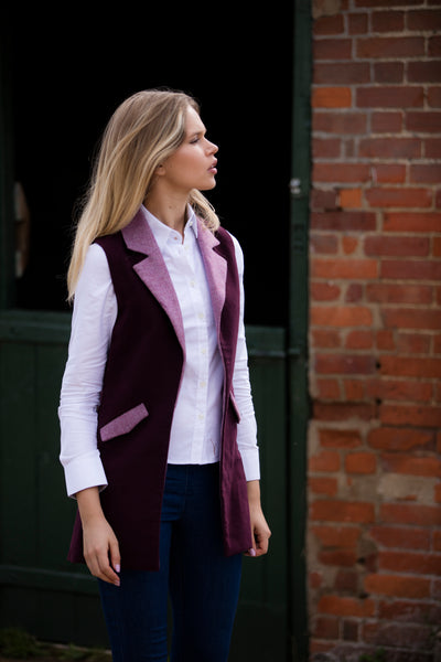 Burgundy Moleskin & Tweed Country Gilet - Alice & Country