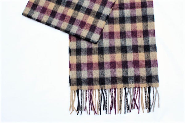 Cashmere Country Scarf In Purple Check - Alice & Country