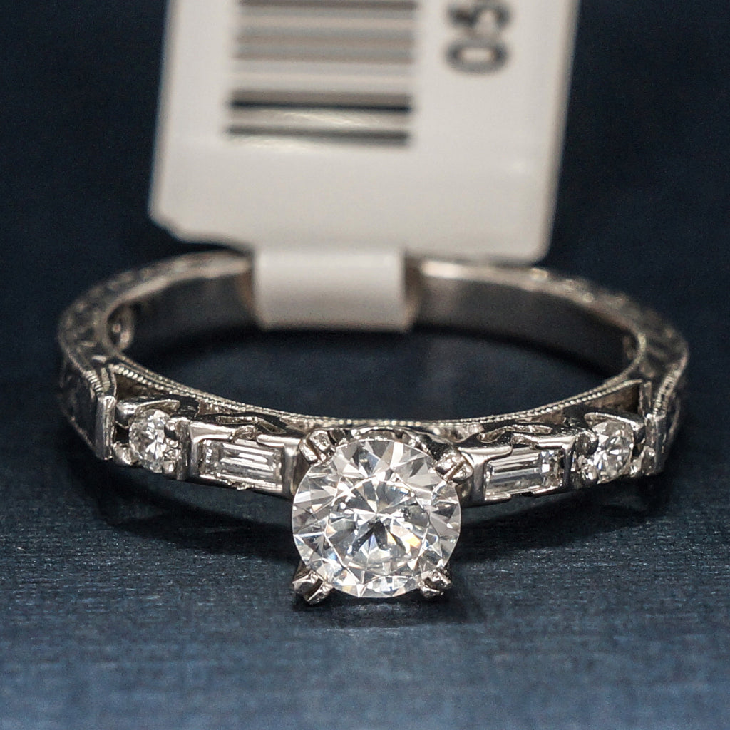 Tacori Platinum Engagement Ring with CZ and Diamonds - Style 2222