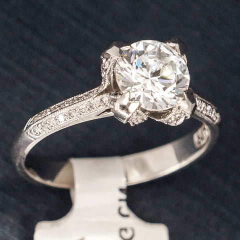 Tacori Platinum Engagement Ring with CZ and Diamonds - Style 2536