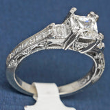 Tacori Platinum Engagement Ring with CZ and Diamonds - Square Setting - Style HT2509PR
