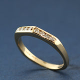 Diamond Ring in 14K with Peaked Center for Wedding, Anniversary, Stacking, or Just Because