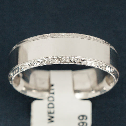 Tacori 18K White Gold Wedding Band - Beautiful Scrolled Edges - Style 2553