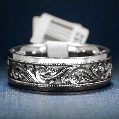 Tacori 18K White Gold Men's Wedding Band - Handsome Scrollwork - Style HT2392