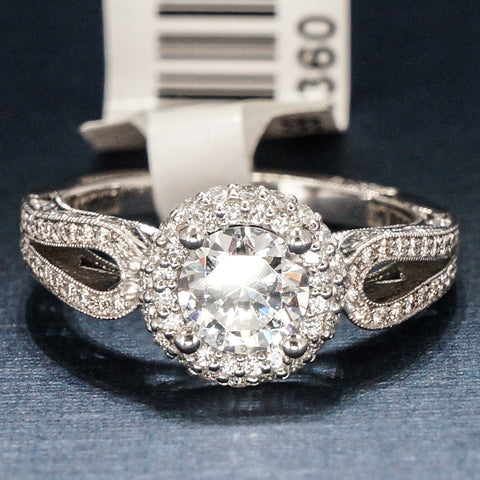 Tacori 18K White Gold Engagement Ring with Diamonds - Style HT2518