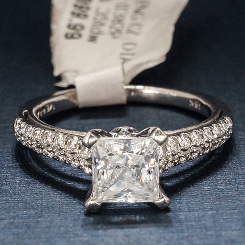 Verragio 18K White Gold Engagement Ring with Diamonds  - Style 0382