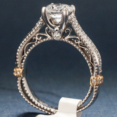 Verragio 18K White and Yellow Gold Diamond Engagement Ring – Verragio Style Venetian 5038R