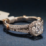 Verragio 14K White Gold Diamond  Engagement Ring with 14K Rose Gold Accents - Style D107-R-O