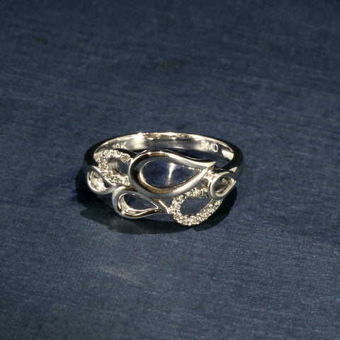 Fluid White Gold and Diamond Teardrop Ring - Diamond Band