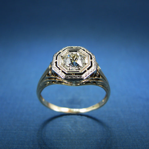 Vintage Art Deco Style Diamond Engagement Ring- .46ct Old Mine Cut Diamond