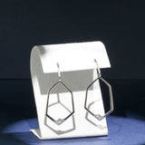Stunning Open Geometric Diamond Statement Earrings in White Gold