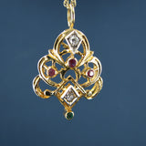 Stunning Ruby, Emerald, and Diamond Pendant in 14k Yellow Gold
