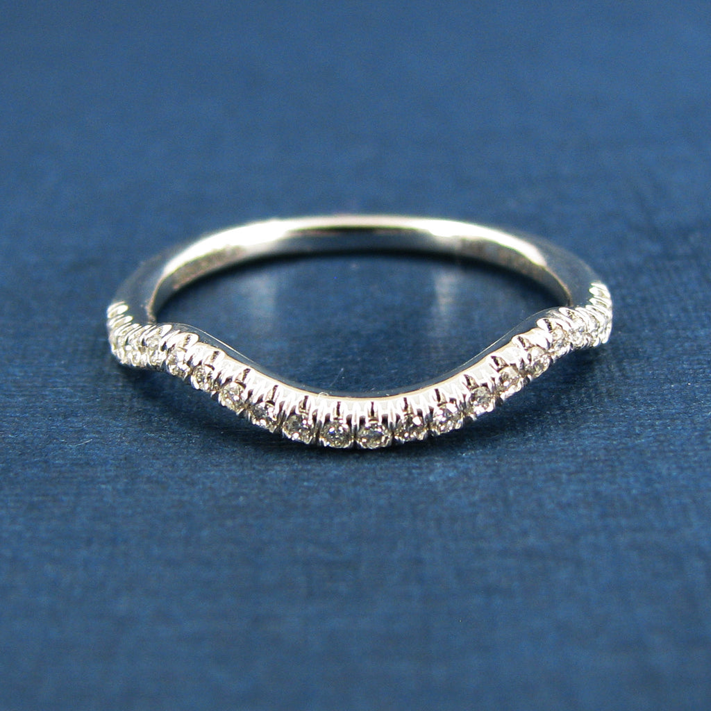Gabriel & Co 14K White Gold Curved Diamond Wedding Band- Ladies Diamond Band