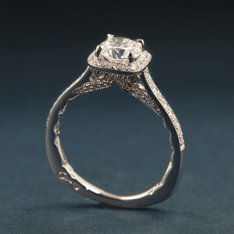 A. JAFFE Halo Engagement Ring For 1CT Round - A Jaffe Style MES7541Q/139