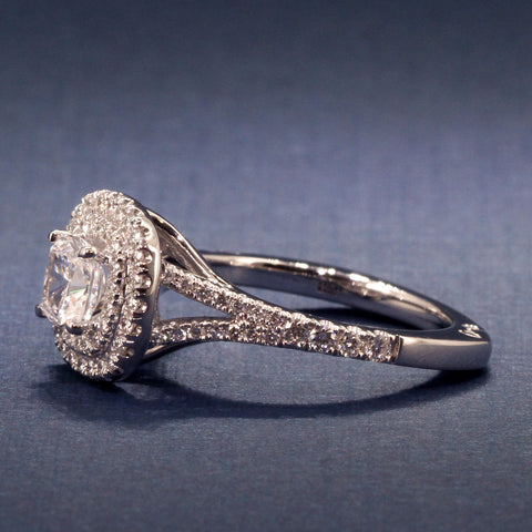 A Jaffe Stunning Double Halo Cushion Cut Engagement Ring- A Jaffe Style MES574  for 1CT Center