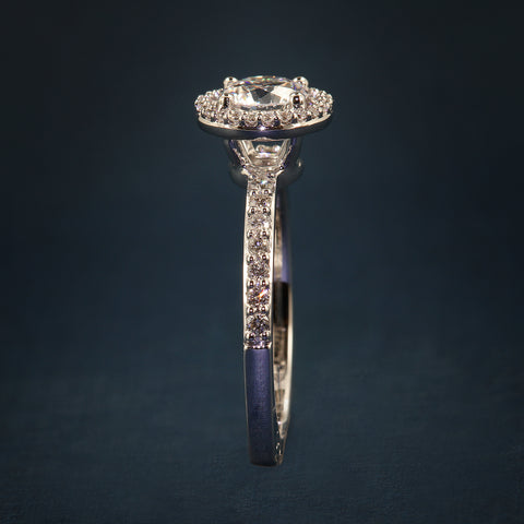 A Jaffe Deco Tower Halo Engagement Ring style MES638 for .75CT round 14KW