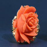 Vintage Carved Coral Rose Ring - 14 Karat Yellow Gold - US Size 6.75