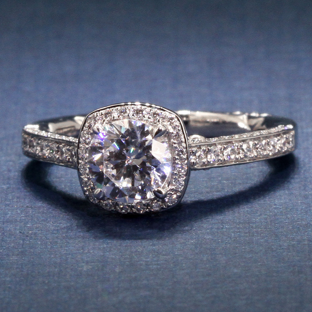 A Jaffe Sophisticated Halo Engagement ring Style MES762Q for 1ct Round 14KW