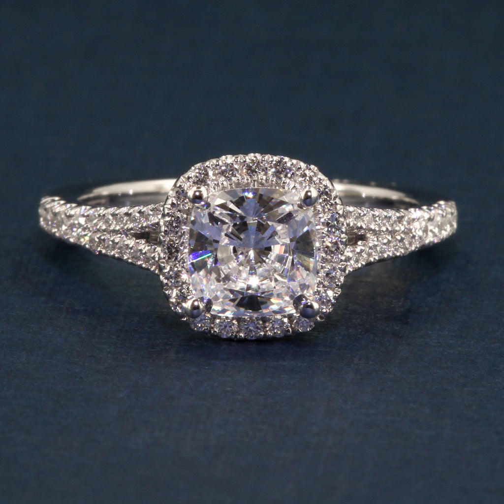 A Jaffe Split Shank Halo Style Diamond Engagement Ring Style MES576 for 1.5ct