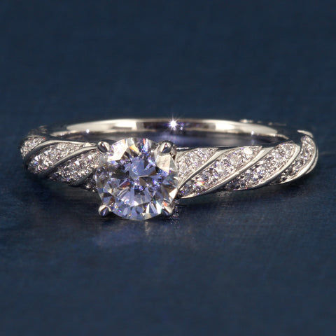 A Jaffe Twist Cathedral Shank Engagement Ring Style MES820 -Classics Collection